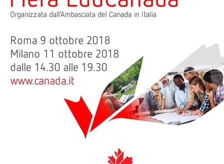 6° edizione della fiera EduCanada/Studiare in Canada 2018 – 9 ottobre a Roma e 11 ottobre a Milano