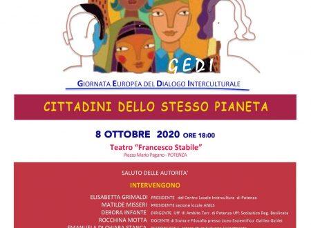 """Evento """"Cittadini dello stesso pianeta"""" – 8 ottobre 2020 ore 18.00 c/o Teatro Stabile di Potenza"""